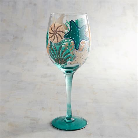 colorful wine glasses colorful coastal painted wine glass products