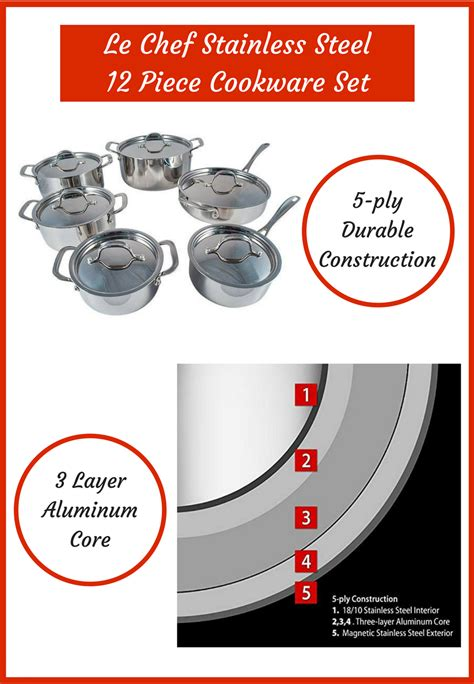 kitchen complete   le chef stainless steel  piece cookware set featuring
