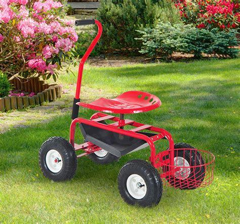 Garden Stools With Wheels - garden cart rolling work seat yard tool wheel gardening