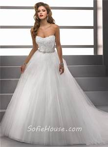simple ball gown strapless lace tulle puffy wedding dress With wedding dresses not puffy