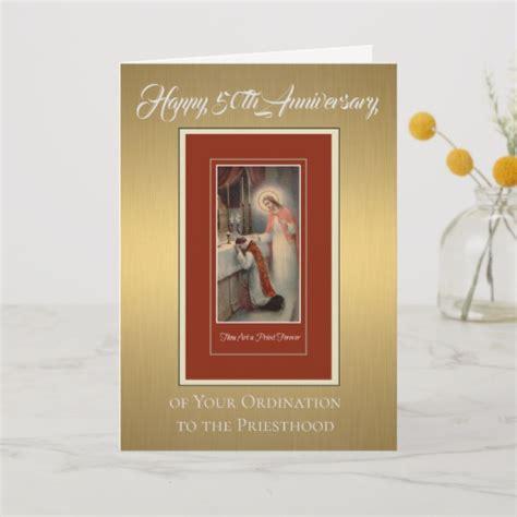 50th anniversary ordination priest at altar card zazzle