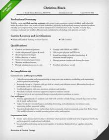 resume certified nursing assistant nursing resume sle writing guide resume genius