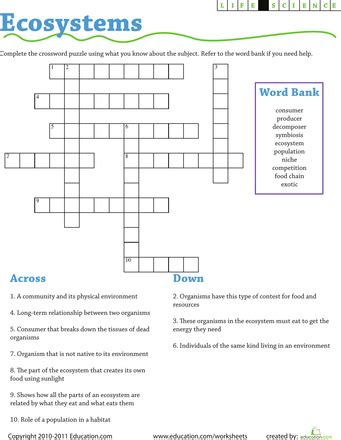life science crossword ecosystems life science pinterest science et vie science and