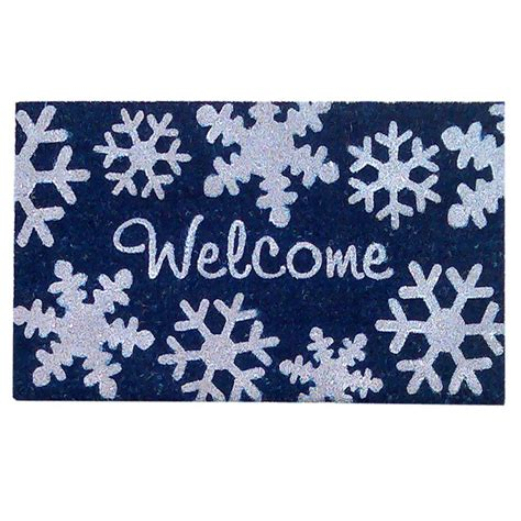 snowflake doormat creative accents snowflakes blue 18 in x 30 in
