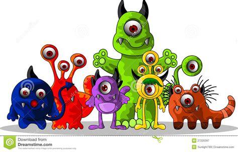 Cute Monsters Cartoon Stock Illustration. Image Of