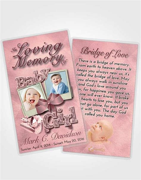 booklet memorial folder pink serenity baby girl