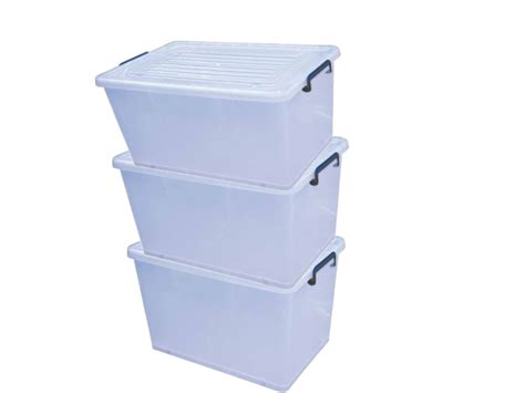 Pack Of 3 35l Clear Plastic Storage Boxes Large Stacking Box With Lid And Wheels Round Plastic Sink Drainer Water Tanks Nz Fix Hole In Pipe Coil Binding Canada Clear Wheelie Bin Liners Kitchen Basket Worktop Cube Storage Shelves