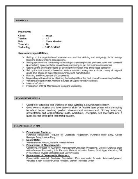 sap mm materials management sample resume  years