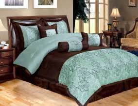 piece king bedding aqua blue brown peony comforter set 3 gif