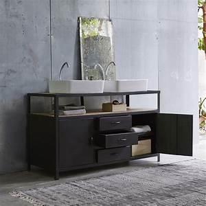 Tikamoon : Industriel Metal and Mango Vanity Cabinet 140