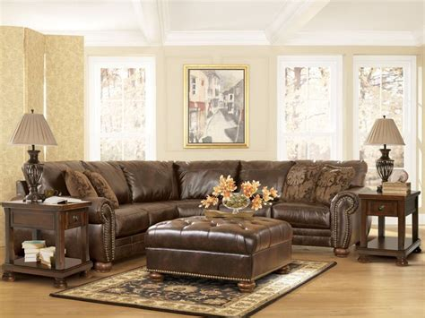 traditional dark brown bonded leather sectional couch living room classics style traditional