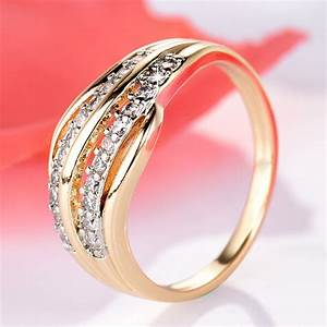 gulicx new fashion female wedding bands jewelry gold color With fashionable wedding rings