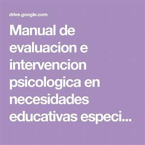 Manual De Evaluacion E Intervencion Psicologica En