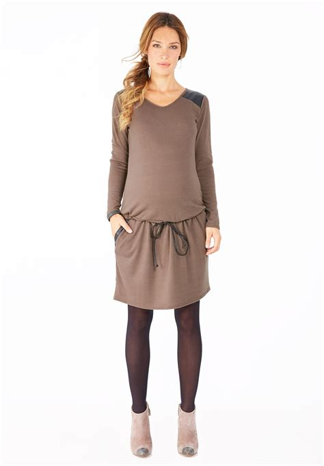robe de chambre grossesse robe de grossesse taupe casual manches longues poches
