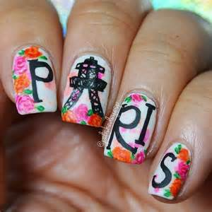 Nail art on rose design pink nails and