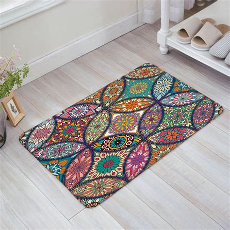Doormat Indoor by Colorful Medallion Mandala With Leaf Flower Figures Print