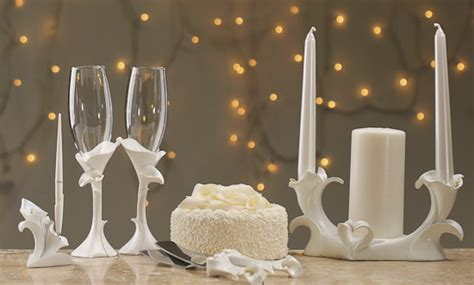 White Porcelain Calla Lilies Wedding Unity Candle Holder