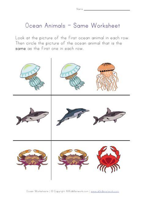 animals coloring 795 | ocean animals worksheet same