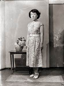 Japanese Woman In Belted Dress  Vintage