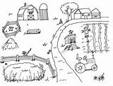 Farm Coloring Pages Scene sketch template