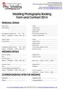 Wedding photography booking form and contract 2014 for Wedding photography form