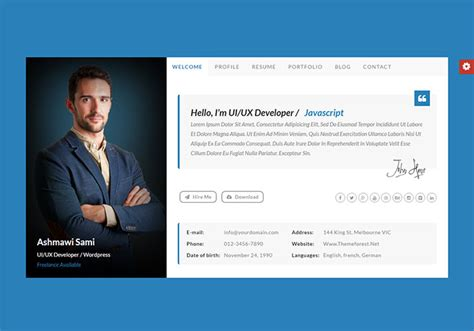 personal vcard resume html templates web