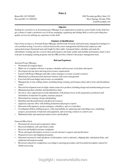 Objective Of Assistant by Downloadable Assistant Project Manager Resume Objective