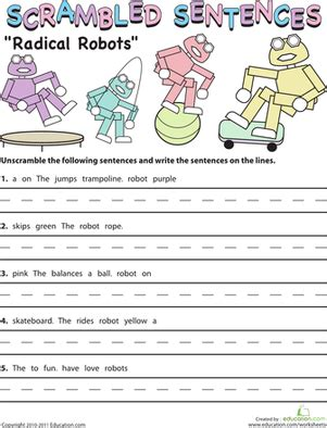 scrambled sentences radical robots school work