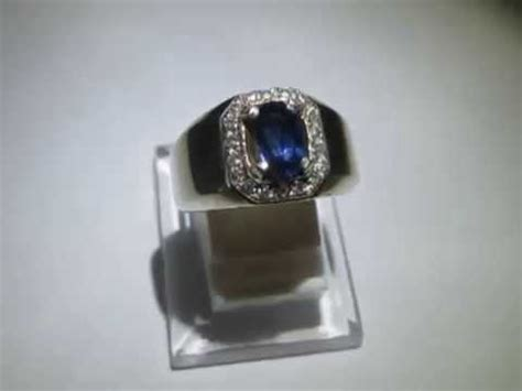cincin pria batu safir ceylon silver ring 8us exclusive
