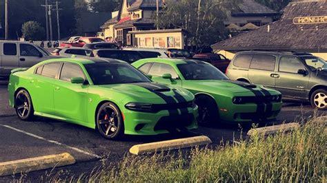 green  hellcat charger  hellcat challenger drivn