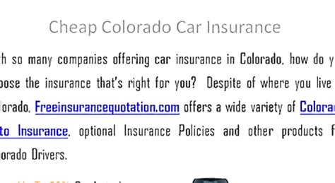 Car insurance rates can fluctuate greatly from one insurance company to the next and depending on personal factors such as your age, zip code, driving record and credit history. Colorado Car Insurance Quotes