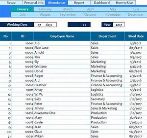 Excel Ledger Templates Employee Attendance Spreadsheet My Excel Templates