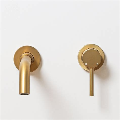 Gold Wall L by Lusso Luxe Wall Mounted Basin Mixer Tap Spout And Valve