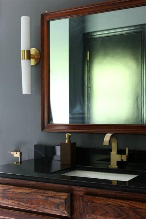black gray  brass master bathroom remodel