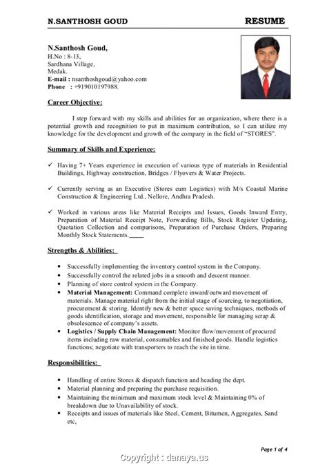 View Resume Format by Top Resume Format For Store Officer Adorable Store Keeper