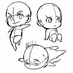 Drawn head chibi - Pencil and in color drawn head chibi