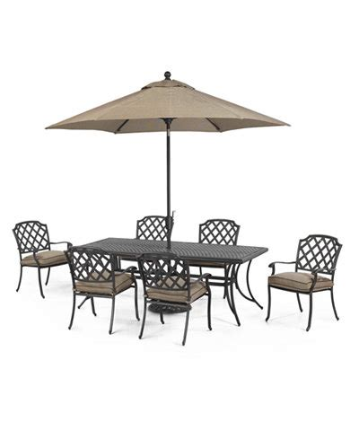 grove hill outdoor cast aluminum 7 pc dining set 84 quot x