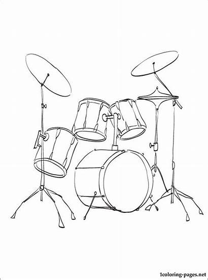 Drum Coloring Pages Kit Instruments Drums Musical