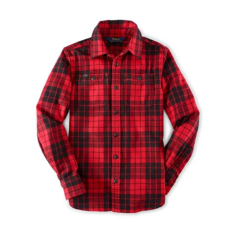 ralph slouchy cotton plaid shirt in for lyst