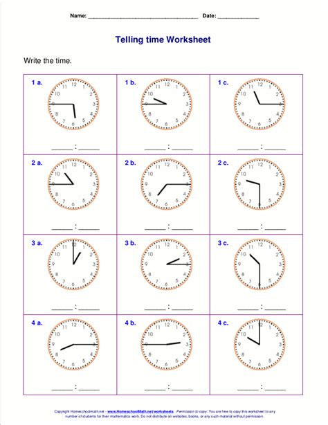 telling time worksheets for 2nd grade for
