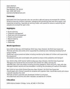 professional child care supervisor templates to showcase With childcare resume template