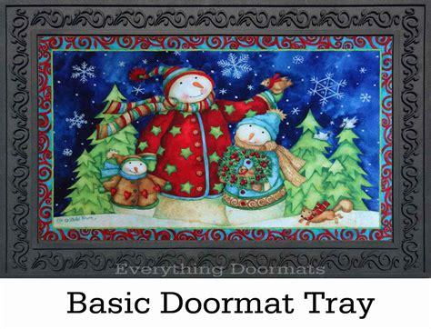 indoor outdoor snowman family insert doormat