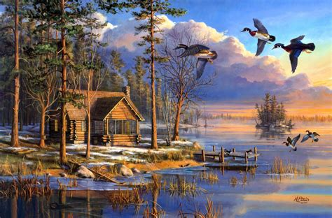 Thomas Kinkade Christmas Tree Village by Spring Arrivals Mary Pettis Painting Spring Sunrise Ducks