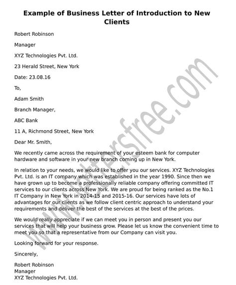 sample business letter  introduction   clients