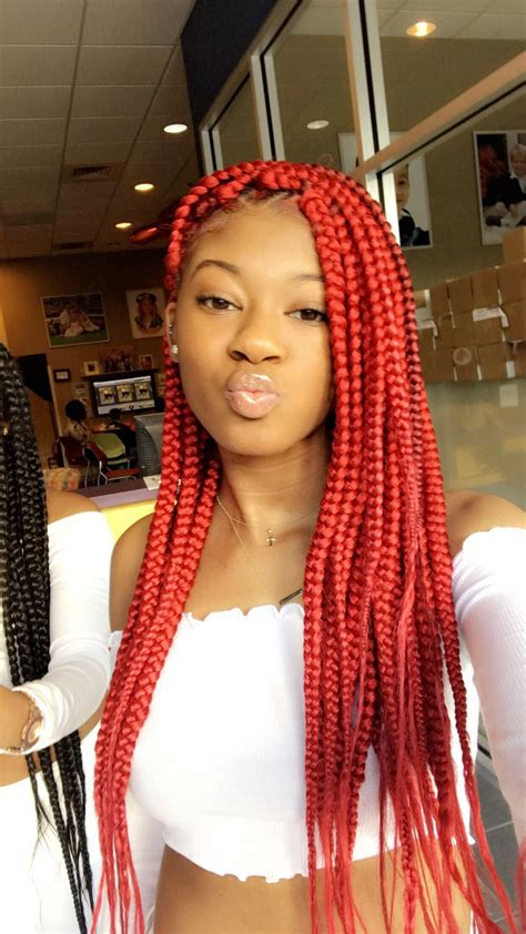 red box braids styles   occassion