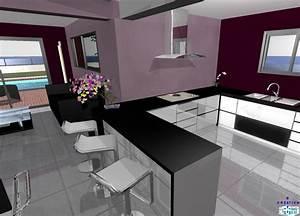 Salon Cuisine Ouverte : modle cuisine ouverte sur salon argileo cuisines ouvertes ~ Melissatoandfro.com Idées de Décoration