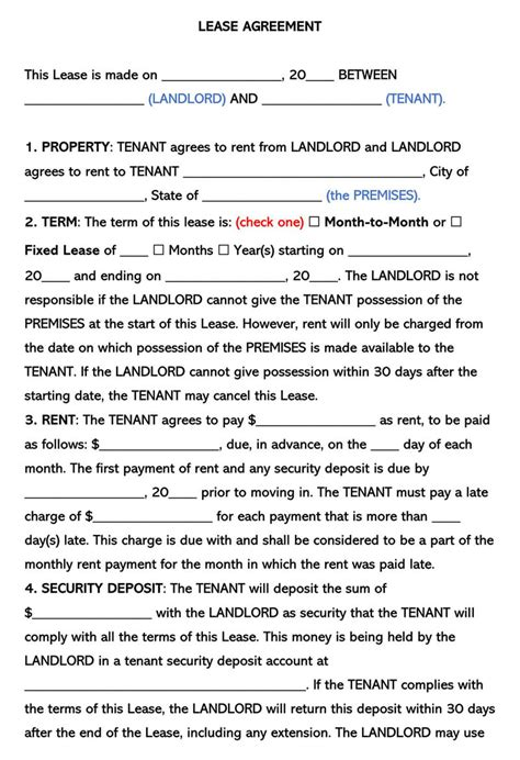 page lease agreement templates  state