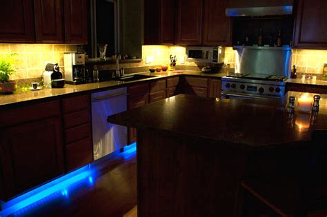 rgb light strips line cabinets for accent