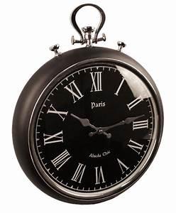 XXL Taschenuhr Design Uhr Wanduhr Matt Schwarz Silber