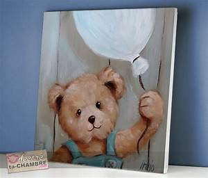 Tableau Chambre Bébé Garçon : tableau ourson ballon pour d co de b b vente tableau nounours pour chambre d 39 enfants ~ Melissatoandfro.com Idées de Décoration